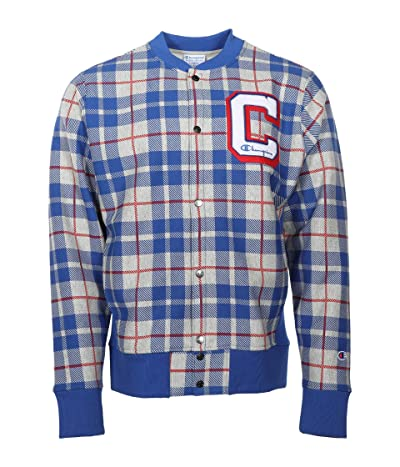 Champion Reverse Weave(r) Baseball AOP Jacket (Plaid 101 Oxford Grey/Surf the Web) Men