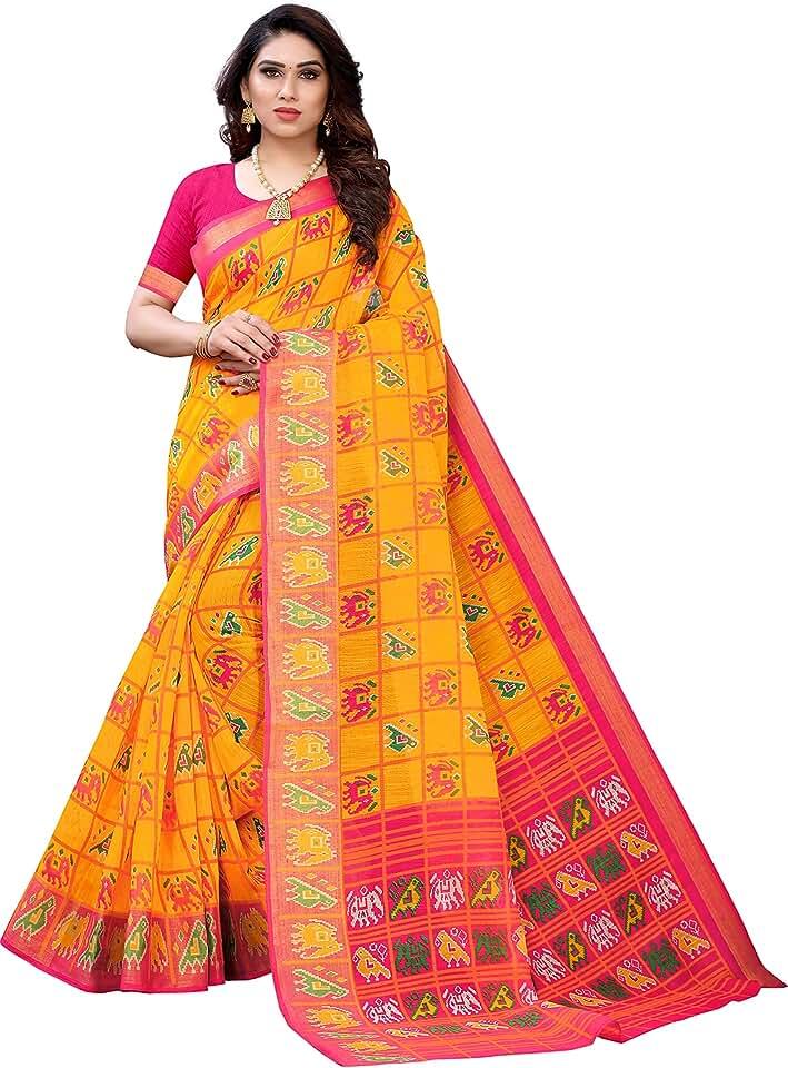 Indian ANNI DESIGNER Women's Pochampally Pure Linen Saree With Blouse Piece (GIRIK-YELLOW_Free Size) Saree