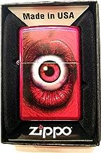 Zippo Custom Lighter - Monster's Mouth LIps with Red Eye Inside - Regular Candy Apple Red