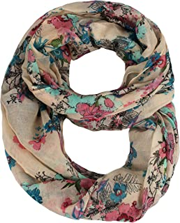 Paint The Town Red Cherry Blossom Floral Print Infinity loop Scarves
