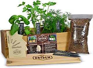 Indoor/Outdoor Herb Garden Kit - Cedar Planter Box with Herb Seeds, Plant Stakes and Expanding Wondersoil - 16