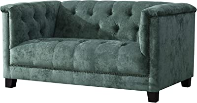 Amazon.com: Rosevera Edmeston Chesterfield Loveseat, Tela ...