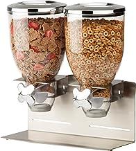 Zevro Indispensable Designer Dry Food Dispenser, Dual Control, Stainless Steel, Silver