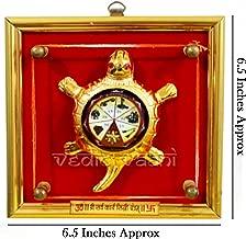 IndianStore4All Metal Tortoise Shri Sarva Karya Siddhi Yantra Glass Lense Yantram In Brass Frame