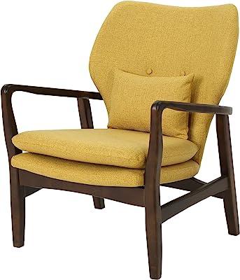Christopher Knight Home Ventura Mid Century Modern Fabric Club Chair, Mustard