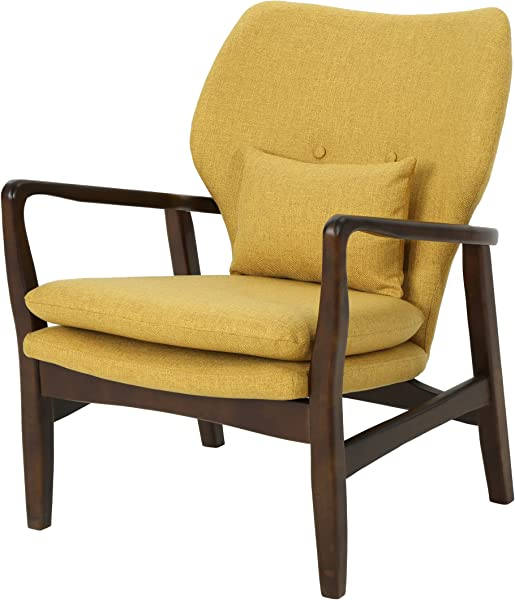 Christopher Knight Home 304780 Ventura Mid Century Modern Fabric Club Chair Mustard