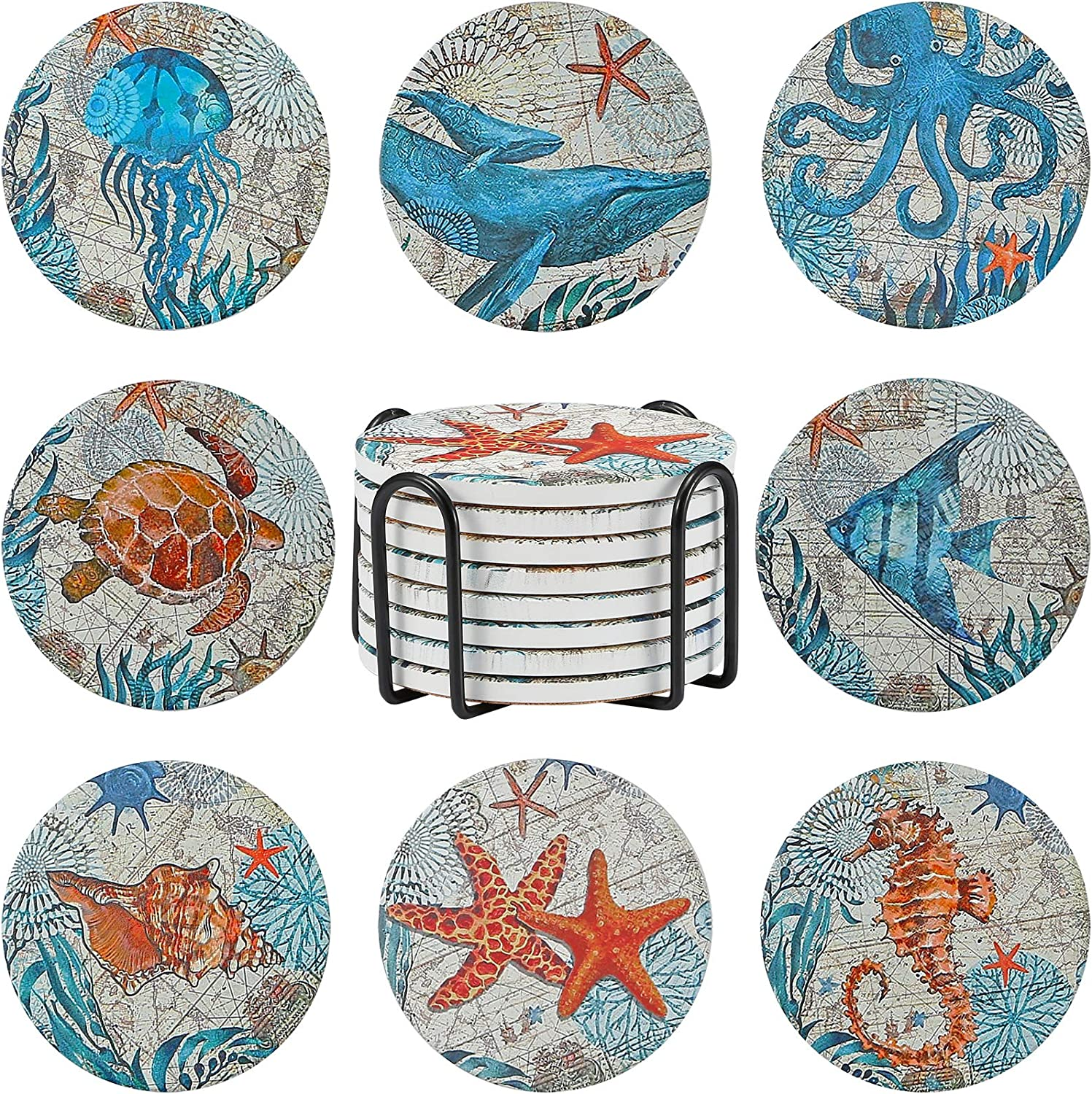 8 Pieces Stone Coasters with New Free Shipping Holder Base Ocean Ranking TOP16 for Drinks Cork