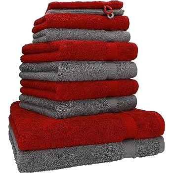 Betz Juego de 10 Toallas Premium 100% algodón 2 Toallas de baño 4 Toallas de Lavabo 4 Toallas de tocador 2 Manoplas de baño Color Gris Antracita y Rojo Oscuro