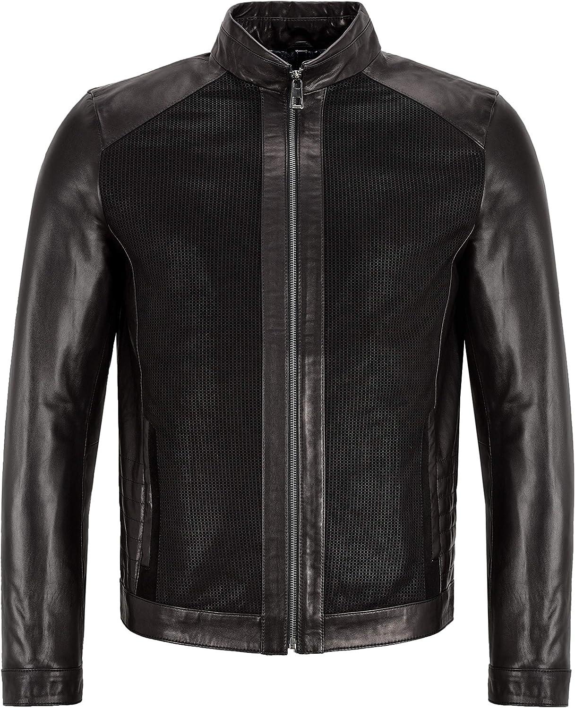 Men's Premium Jacket Black Veg Tanned Real Leather Classic Biker Fashion Jacket M-61