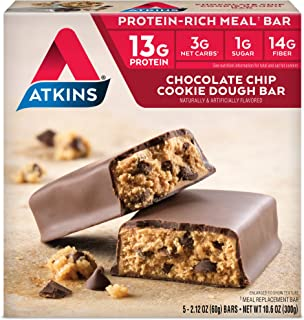 Atkins Protein-Rich Meal Bar, Chocolate Chip Cookie Dough, Keto Friendly, 5 Count (Pack of 6)