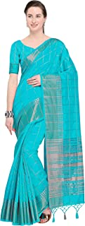 Women's Tussar Silk Traditional Silver Zari Weaving Work Saree(JOPLNS2028-P_Free Size)
