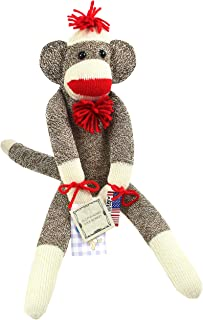 Ozark Mountain Kids The Original Sock Monkey - Featuring Classic Button Eyes, Pom Pom Hat, and Poof Ball Necktie - Measures 19 Inches Tall - Made in The USA