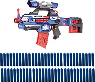 Dimple KTDC85883 Foam Dart Attack Blaster with Rapid Refill Cartridges, Includes 60 Aerodynamic Soft Foam Darts, 2 Magazine Clips, Clip-OnX 40Mm & Extendable Body (Blue), Blue Blaster
