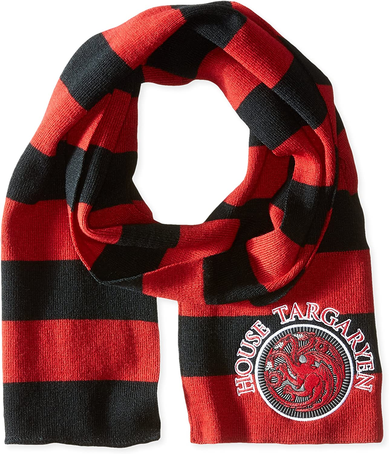 Concept One Men's Game of Thrones Striped Scarf with Targaryen Patch