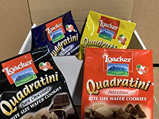 Loacker Quadratini Wafer Cookies Variety Pack ( Pack of 4 ) By KC Commerce