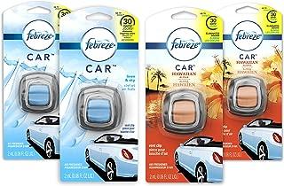 Febreze Car Air Freshener, 2 Linen & Sky & 2 Hawaiian Aloha Scents (4Count.06 Fl Oz)