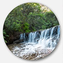 "Designart MT10234 C23 Beautiful Waterfall in New Australia Landscape Disc, 23"" x 23"", Green"