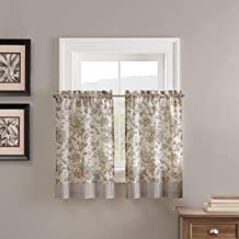 """WAVERLY Lucchese Small Panel Tiers Privacy Window Treatment Pair Bathroom, Living Room, 52"""" x 36"""", Fumo"""