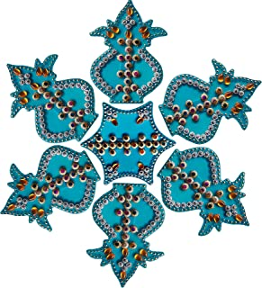 RUCI STORE Diwali Acrylic Rangoli Floor Decorations Acrylic Kalash Design with Studded Stones and Sequins, Traditional Festive Home Décor Medium Size (Cyan)