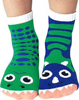 Kids T-Rex & Triceratops Dinosaur Pals Mismatched Silly Dino Socks for Boys Girls with Nonskid No Slip Grippers