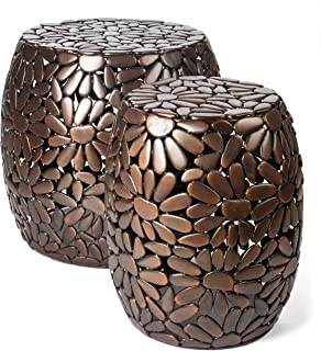 Red Fig Home Accent Side Table Set of Two Metal Decorative End Tables with Antique Copper Finish for Bedside Living Room Entryway Hallway