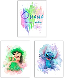 Lilo and Stitch Watercolor Art Prints – Set of 3 (8x10) Photos - Ohana Means Family