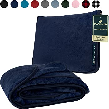 French Microfiber Comfort Cabeau Fold /'n Go Travel and Throw Blanket Plus Compact Case For Home and Travel Blue Inc Doubles as Lumbar Pillow and Neck Support Pillow FB0562