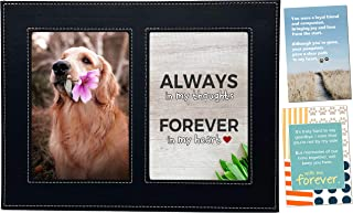 Baby Mushroom Pet Memorial Picture Frame - Loss of Dog or Cat Sympathy Gift Featuring 3 Heartfelt Poetic Prints & 4x6 Inch Photo Slots, Premium Faux-Leather Picture Frame