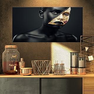 Designart PT9301-32-16 Woman with a Zip on Face-Art Portrait Canvas Print-32x16, 32x16, Black