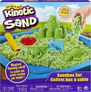 Kinetic Sand, Sandbox Playset with 1Lb of Green & 3 Molds, for Ages 3 & Up
