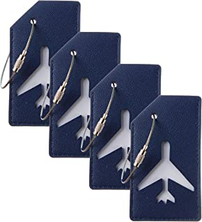 Leather Luggage Tags Bag Tag Stainless Steel Loop (blue navy 4 pcs set)