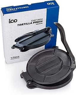 Impeccable Culinary Objects (ICO) Prensa De Hierro Fundido para Hacer Tortillas, Maquina para Hacer Tortillas de Maíz Frescas para Tacos Quesadillas Muchas Recetas Mexicanas