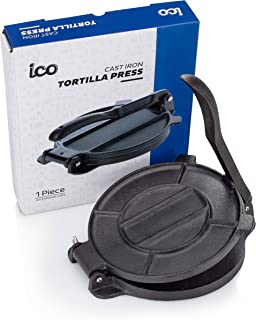Cast Iron Tortilla Press, Tortilla, Roti, and Flatbread Maker (Pre-Seasoned) - makes fresh Corn or Flour Tortillas for grilling