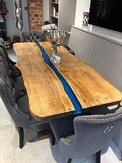Table de salle à manger en chêne massif avec bords en résine cirée fabriquée à la main (marron Rugger)