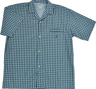 Nautica Sleepwear Men's Wayland Plaid Woven Short Sleeve Camp