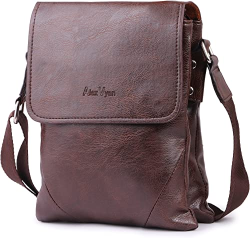 Stylish Leather Casual Brown Men and Women Girl Boy Make Up Bag Shoulder Bag Traveler Bag Messenger and Sling Bag 9 Inch Long 3 Outer Pocket SlingBag Type2