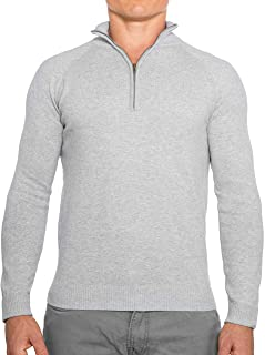 CC Perfect Slim Fit 1/4 Quarter Zip Pullover Men | Durable Wash Friendly Mens Sweater | Soft Fitted Sweaters for Men