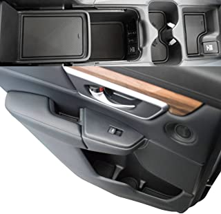 Custom Fit Cup, Door, Console Liner Accessories for 2019 2018 2017 Honda CR-V CRV (Solid Black)