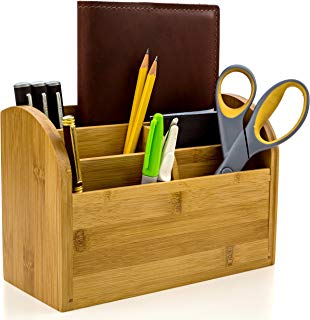 Desk Organizer Caddy for Office Supplies Pen Holder & Desk Accessories Made of Organic Bamboo by Intriom Bamboo Collection
