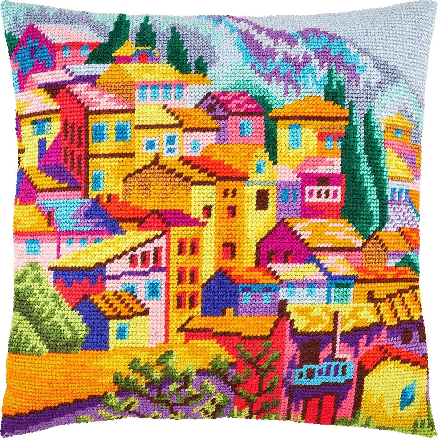montenegro needlepoint kit throw pillow 16 16 inches printed tapestry canvas european quality