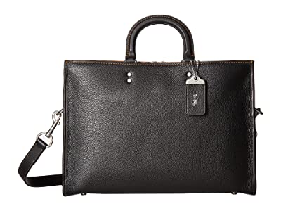 COACH Rouge Brief in Glovetan Leather (Black) Briefcase Bags