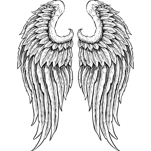 0620b123e DETAILED ANGEL WINGS WITH FEATHERS BLACK WHITE Vinyl Decal Sticker Two in  One Pack (4