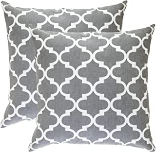 TreeWool, Pack of 2, Throw Pillow Cover Moroccan Trellis Accent 100% Cotton Decorative Square Cushion Cases (16 x 16 Inches / 40 x 40 cm; Graphite Grey & Off-White)
