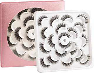 False Eyelashes -10 Pairs- Black Natural Full Eyelash for Women – Comfortable Eye Lashes for Daily Use at Work, Beauty Con...