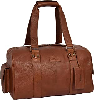 Womens Leather Small Holdall Sports Gym Organiser Weekend Bag Anaheim Tan