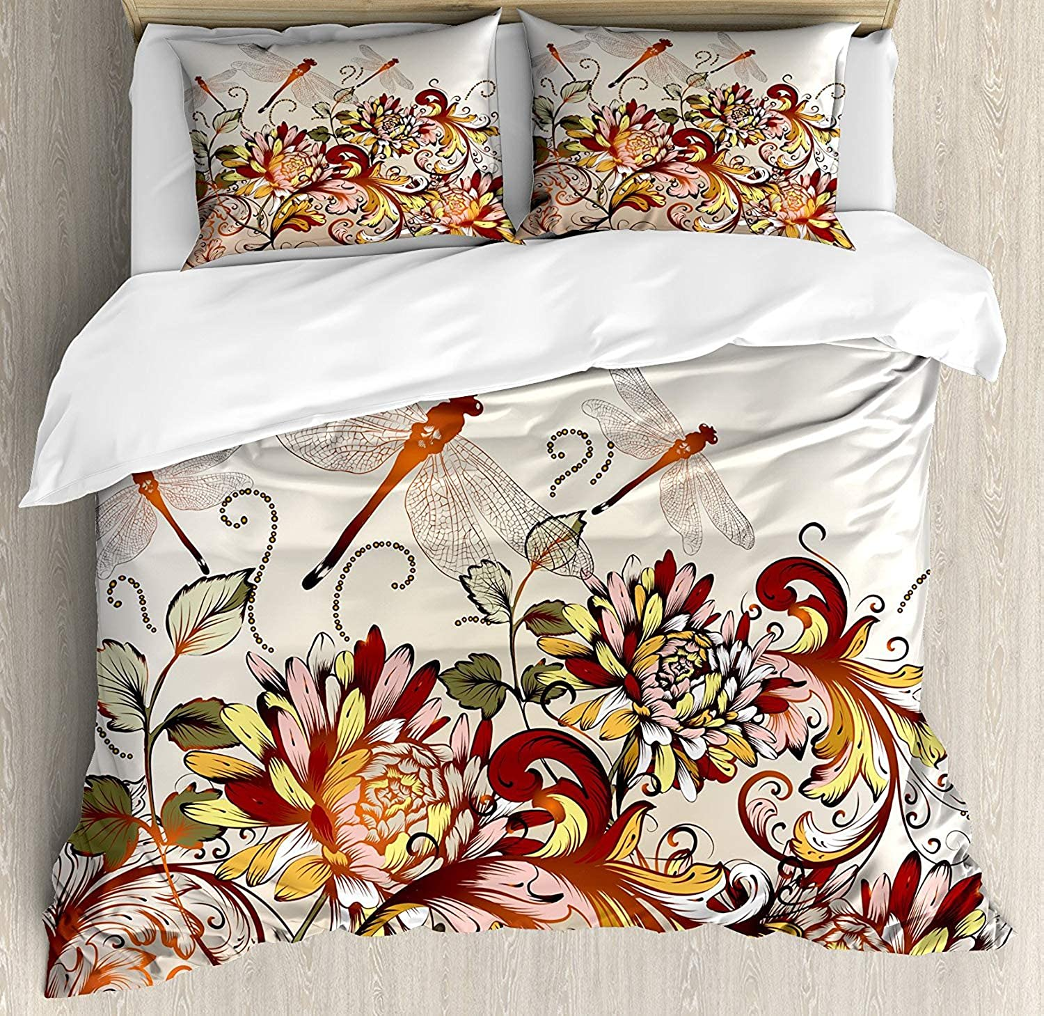 OxOHome Spring Bedding Sets Flower Field Foliage Dragonflies Magical Season Shabby Classic Leaves Pattern Duvet Cover Sets Full Bedding Comforter Cover Sets Soft Bedding Collections