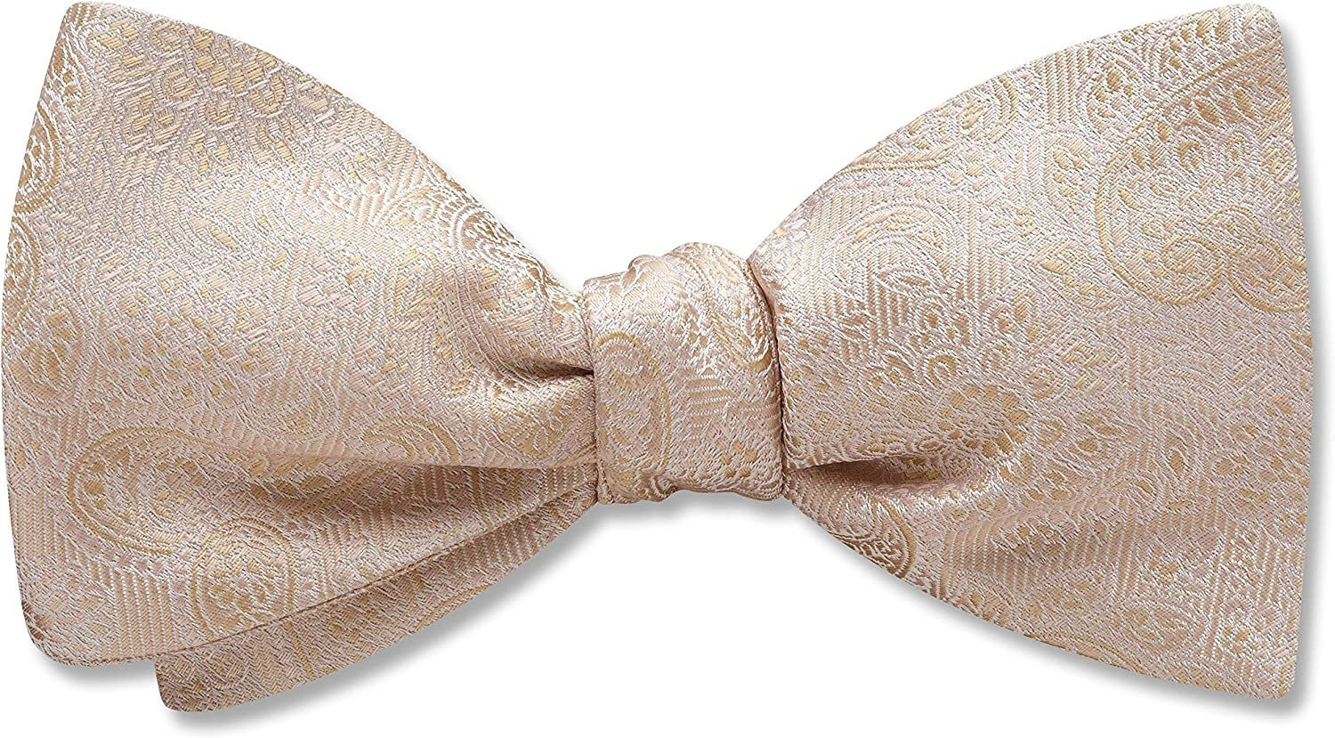 Pembroke Champagne White Paisley, Men's Bow Tie, Handmade in the USA