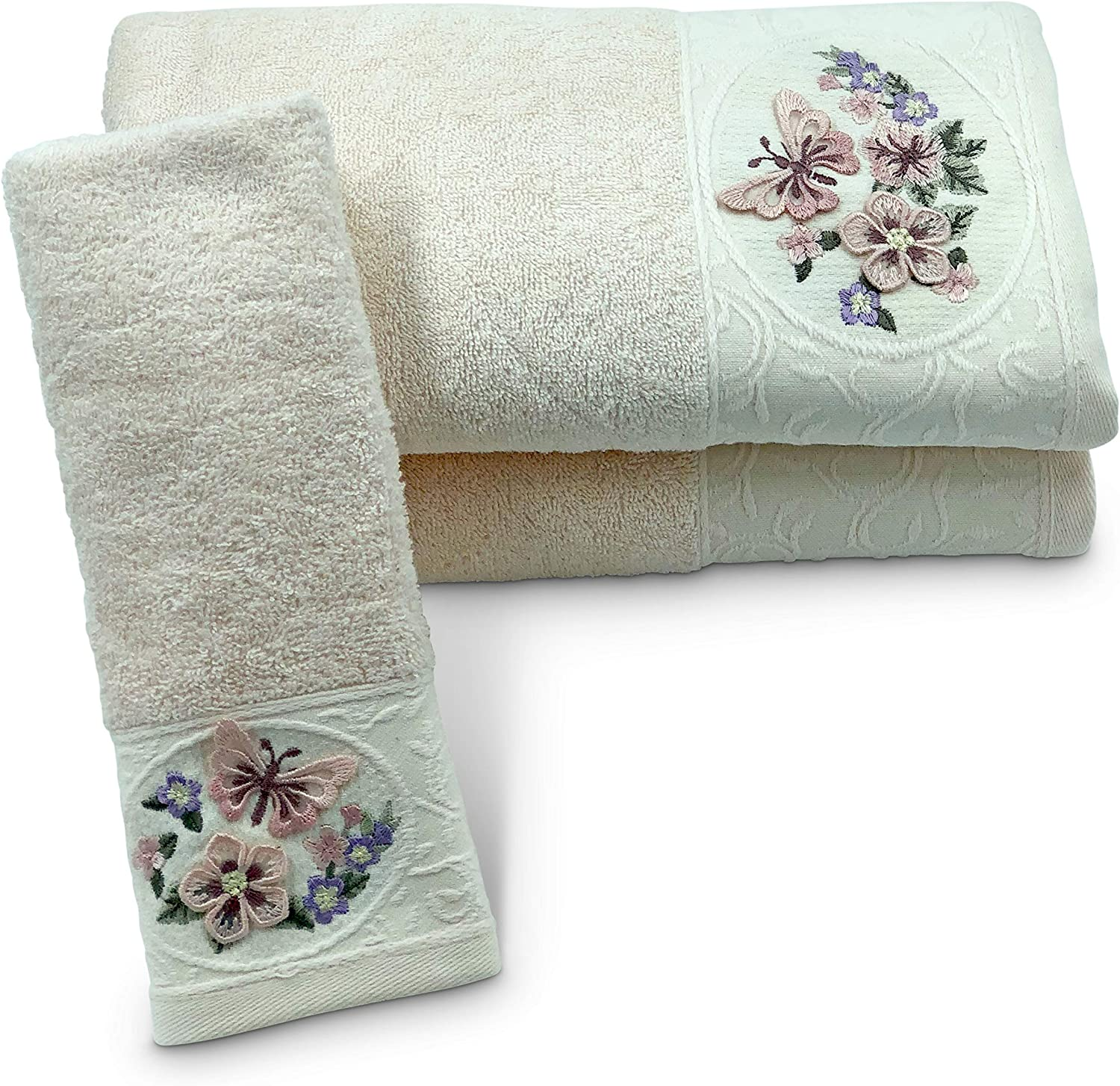 Aylinn Spring Butterfly Towel Set – 2 Pieces Ultra Soft 50x90 Hand Towel -1-Piece 30x50 Kitchen Towel – Elegant- Modern-Luxurious-Powder Ecru
