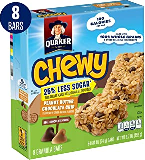 Quaker Chewy Granola Bars, 25% Less Sugar, Peanut Butter Chocolate Chip, 6 Bars