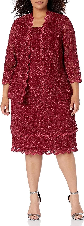 R&M Richards Women's 2 PCE Scalloped Trim Tier Jacket Dress